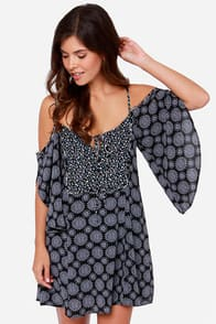 Lucy Love Kensie Black Print Dress at Lulus.com!