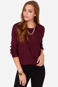 Lay It on the Line Burgundy Sweater at Lulus.com!