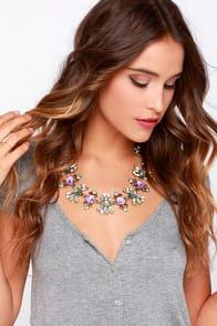 Shiny Happy People Lavender Rhinestone Necklace at Lulus.com!