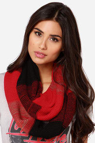 Warm Embrace Black and Red Striped Infinity Scarf at Lulus.com!