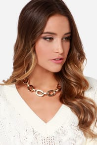 No Chain No Gain Gold Rhinestone Chain Necklace at Lulus.com!