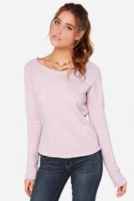 RVCA Label Wilding Pale Mauve Sweater at Lulus.com!
