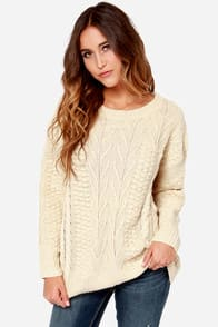 Mink Pink Word Play Cream Sweater at Lulus.com!