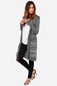 Marl and Me Black and Ivory Oversized Hooded Sweater at Lulus.com!