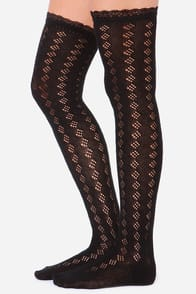 Lace Be Civil Black Over The Knee Socks at Lulus.com!