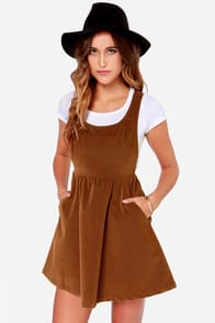 Ladakh Velvet Underground Brown Corduroy Dress at Lulus.com!