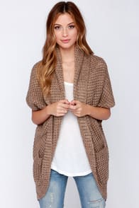 Sitting Fireside Brown Knit Cardigan Sweater at Lulus.com!