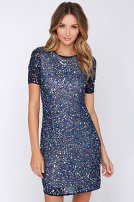 Glamorous Tiny Trinkets Blue Sequin Dress at Lulus.com!