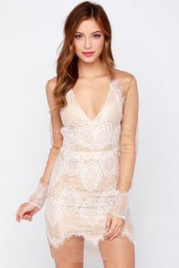 Beautiful Mesh Tan and Ivory Lace Dress at Lulus.com!