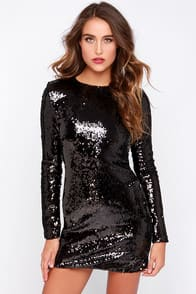 Positive Contact Black Long Sleeve Sequin Dress at Lulus.com!