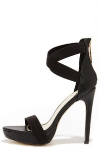 Step Right Up Black Ankle Strap Platform Heels at Lulus.com!