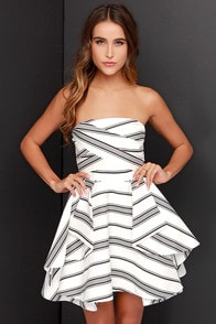 Cameo Night Tale Strapless Ivory and Black Striped Dress at Lulus.com!