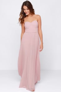 Always Charming Strapless Blush Pink Maxi Dress at Lulus.com!