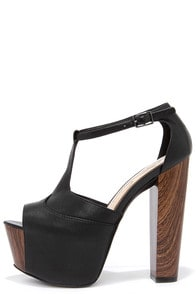 Jessica Simpson Dany Black Tumbled Alaska Leather Platform Heels at Lulus.com!
