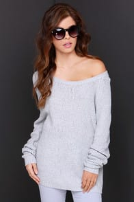 Snuggler's Cove Grey Sweater at Lulus.com!