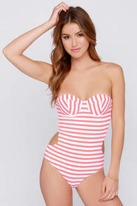 Daniela Coral and White Striped One Piece Swimsuit at Lulus.com!