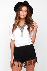 Let's Be Fringe Black Lace Shorts at Lulus.com!