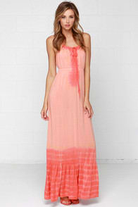 Others Follow Emerson Peach Tie-Dye Maxi Dress at Lulus.com!