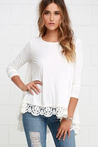 Just Like Vacation Ivory Long Sleeve Top at Lulus.com!