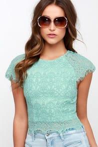 Feelin' Fancy Mint Green Lace Crop Top at Lulus.com!