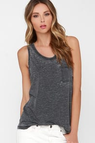 Sandy Dark Grey Burnout Tank Top at Lulus.com!