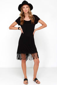 Future Memories Black Fringe Dress at Lulus.com!
