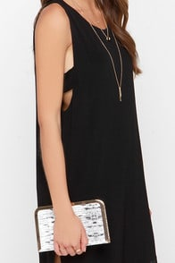 Sweet Venom Gold and Snakeskin Clutch at Lulus.com!