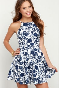 Living Splendor Ivory and Navy Blue Floral Print Dress at Lulus.com!