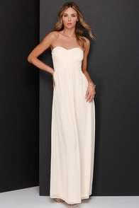 A Star is Born Cream Strapless Maxi Dress at Lulus.com!