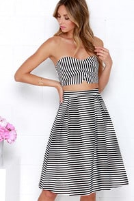 Telephone Lines Black and Ivory Striped Two-Piece Dress at Lulus.com!