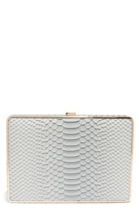 Croco-Dialogue Light Blue Clutch at Lulus.com!
