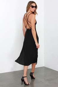 Against the Current Black Midi Dress at Lulus.com!