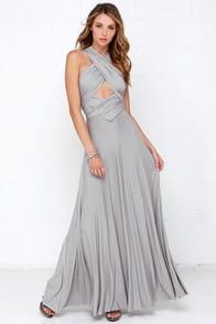 Tricks of the Trade Light Grey Maxi Dress at Lulus.com!