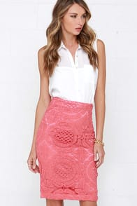 Doily a Dozen Rose Pink Lace Pencil Skirt holds at Lulus.com!