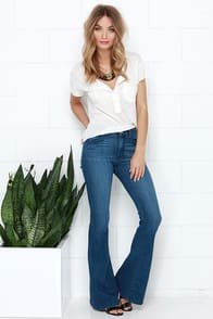Friends Flare-ever Medium Wash High-Waisted Flare Jeans at Lulus.com!