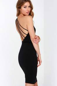 Making Me Blush One Shoulder Black Dress at Lulus.com!