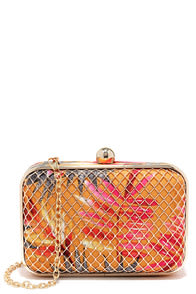 Tropi-Call You Later Orange Tropical Print Clutch at Lulus.com!