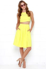 Splendidly Spry Yellow Two-Piece Midi Dress at Lulus.com!