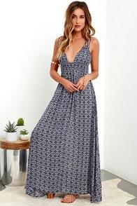 Field Day Navy Blue Print Maxi Dress at Lulus.com!