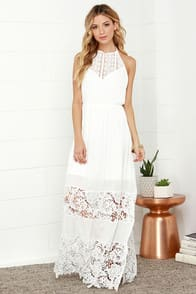 Dashing Dame Ivory Lace Halter Maxi Dress at Lulus.com!