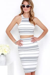 Sweet Soiree Ivory and Grey Striped Two-Piece Dress at Lulus.com!