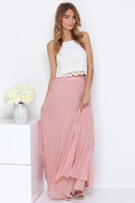 Soothe Sailing Blush Pleated Maxi Skirt at Lulus.com!