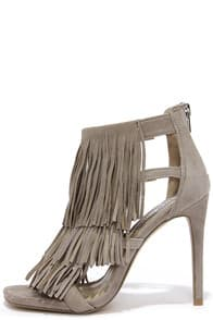 Steve Madden Fringly Taupe Suede Leather Dress Sandals at Lulus.com!