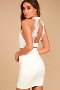 Chic My Interest Ivory Lace Two-Piece Dress at Lulus.com!