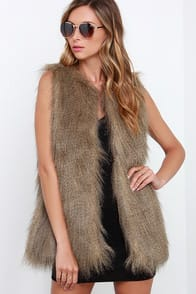 Black Swan Flurry of Fun Brown Faux Fur Vest at Lulus.com!