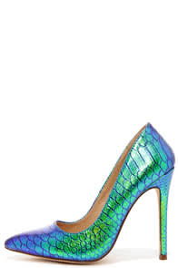 Ladies First Green Hologram Pointed Pumps at Lulus.com!