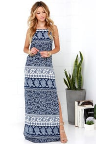 Mosaic Master Navy Blue Print Maxi Dress at Lulus.com!