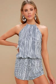 Fortuitous Navy Blue Striped Halter Romper at Lulus.com!