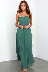 Empress Me Much Dark Sage Green Strapless Maxi Dress at Lulus.com!