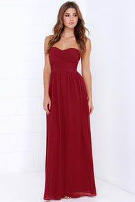 Royal Engagement Strapless Wine Red Dress at Lulus.com!